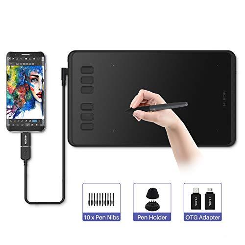 HUION Grafiktablett, Inspiroy H640P Grafiktablett Stift Stylus Batteriefrei 8192 Stufen Stift Druck Unterschrift Pad für PC Mac Windows Android für OSU!