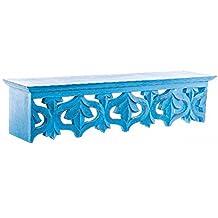 Repisa de Madera para Pared (66x15x15 cm) tallada Azul