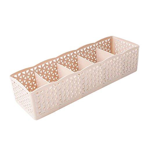 Dtuta 5-Zellen-Kunststoff-Aufbewahrungsbox Aufbewahrungsbox Krawatten-BH Socken Schublade Kosmetik Getrennt Ordentlich Und Bequem