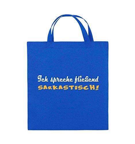 Comedy Bags - Ich spreche fließend Sarkastisch! - Jutebeutel - kurze Henkel - 38x42cm - Farbe: Schwarz / Weiss-Neongrün Royalblau / Weiss-Gelb