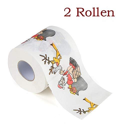 Zhen+ Toilettenpapier, 2 | 10 | 40 | 80 Rollen 3-lagig Klopapier bedrucktes Papierhandtücher Papier Toilettenpapier Motiv Weihnachten 170 Blatt je Rolle (A, 2 Rollen)