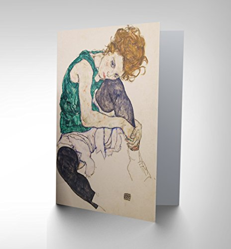 egon-schiele-seated-woman-legs-drawn-adele-herms-painting-greetings-card-cp1085