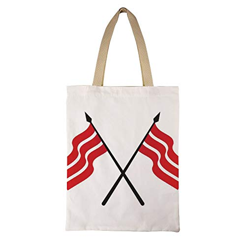DKISEE Flag Template Logo and Symbol Reusable Canvas Tote Handbag Eco-Friendly Printed Tote Bag Large Casual Shoulder Bag Shopping Bag -