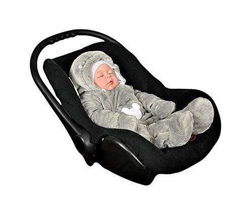 MoMika Baby Strampler. Unisex Baby Overall. Neugeborene & Kleinkinder Strampler mit Kapuze. Baumwolle und Minky Kuschelstoff | Maus (58cm/0-3 Monate, Grau)