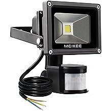 MEIKEE 10W Foco LED con Sensor Movimiento, Proyector LED exterior IP65 (resistente al agua), Iluminación de Exterior y Seguridad darle confianza