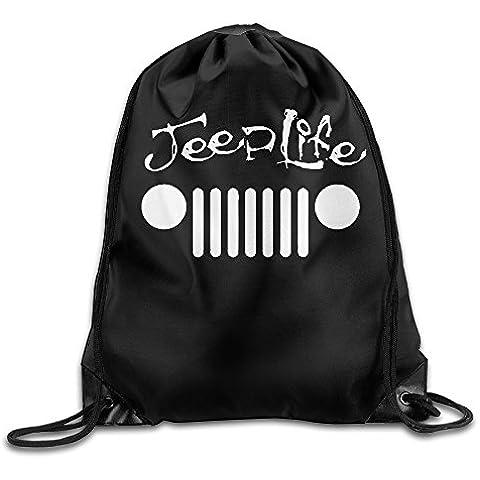 Canace Jeep Wave Handprint parrilla Wrangler Club deportes al aire libre cordón bolsas mochila, Blanco, talla única