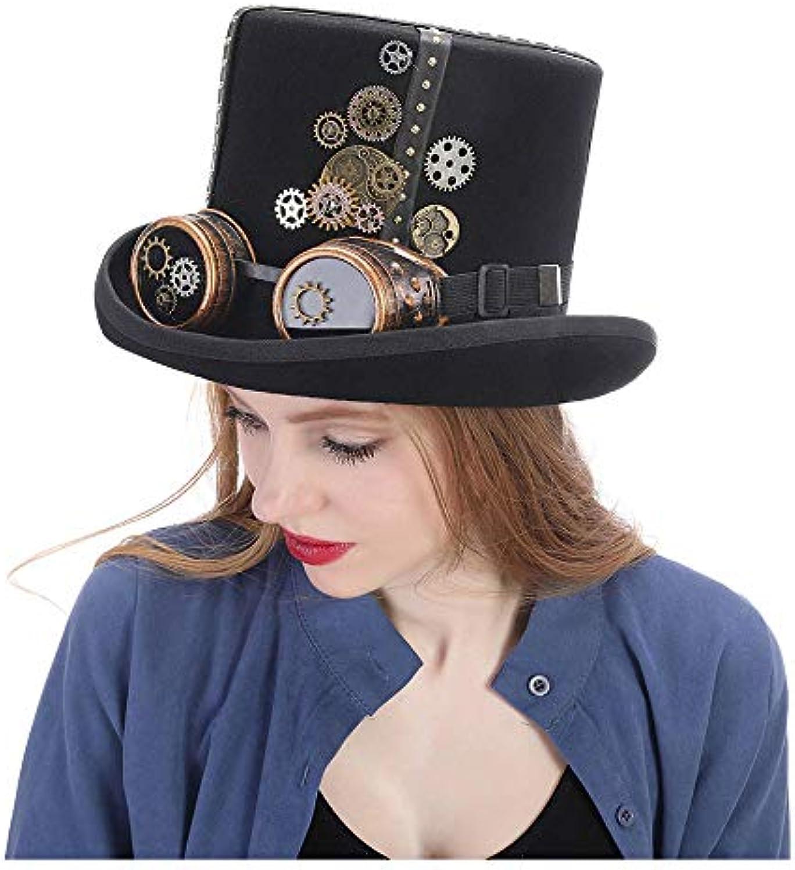 FuweiEncore STEAMPUNK STEAMPUNK STEAMPUNK HAT Cappello a cilindro Steampunk in feltro nero con fascia in metallo dorato, ingranaggi... Parent eadfe1
