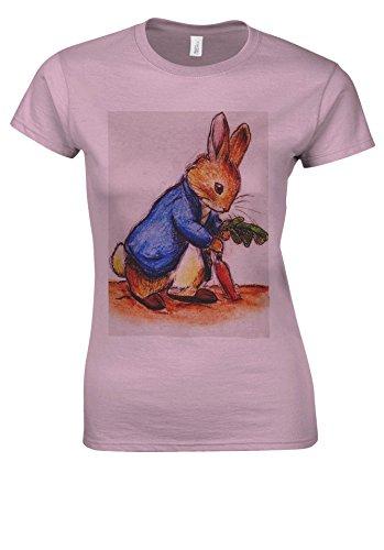 Alice in Wonderland Cartoon Anime Rabbit Light Pink Women T Shirt Top-XXL (Womens T-shirt Alice Light)