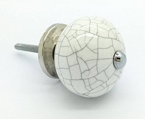 ... White Crackle Round Ceramic Door Knobs Vintage Shabby Chic Cupboard  Drawer Pull Handles By G Decor ...