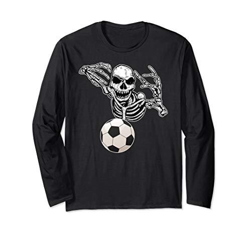 Halloween-Skelett-Fussball Spieler-Schädel übergibt Party Langarmshirt