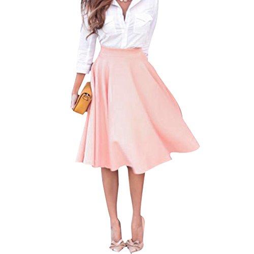 Eleery Neu Frau hohe Taillen Ebene Elastischer Ausgestelltes gefaltete lange Rock Kleider (Pink, 38)