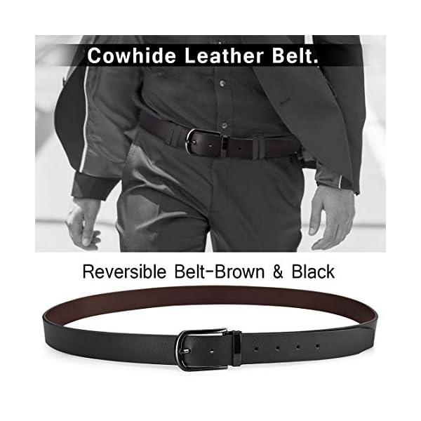 NUBILY Cintura Uomo Pelle Nero Marrone Reversibili Cinture da Uomo Della Di Cuoio Fibbie Cintura Casual Formali Elegante… 5 spesavip