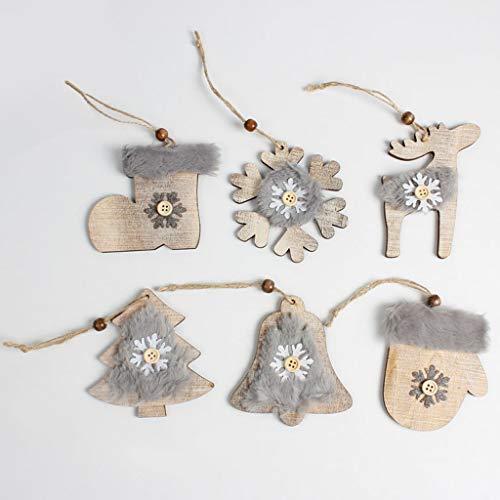 Xurgm 6 Stücke Filz Weihnachtsanhänger Tannenschmuck,DIY Weihnachtsdekoration Holz Scheiben Scheiben,Schneeflocke/Glocke / Schuh/Handschuh / Rentier/Weihnachtsbaum