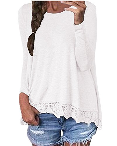 ZANZEA Damen Langarm Lace Crochet Tops Freizeit Lose Tunika T-Shirt Oberteil Weiß EU 38-40 / US 6-8 / Asian M (Tunika Weiße)