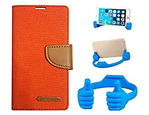 Aart Fancy Wallet Dairy Jeans Flip Case Cover for MicromaxQ380 (Orange) + Flexible Portable Mount Cradle Thumb OK Designed Stand Holder By Aart Store.
