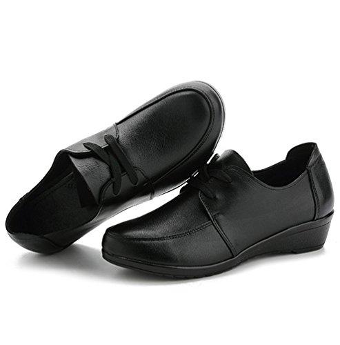 Yiiquan Femmes Chaussures Compensées Femmes Mode Chaussures Lacets Moyen Talon Casual Plat Mocassins Confortables Style 2