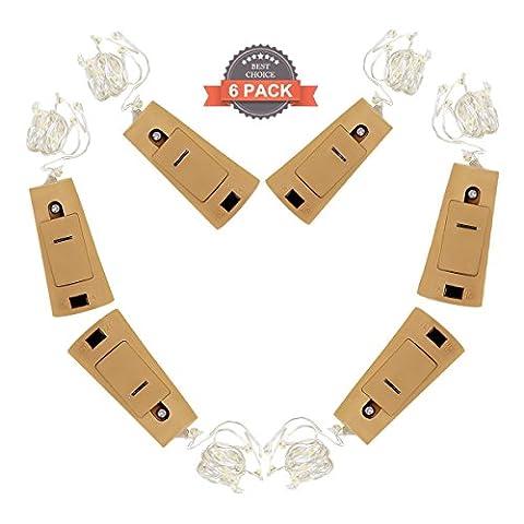 adogo Bouchon Bouteilles de Vin avec fil de cuivre de lumière chaîne, alimentation par piles bouton, 6lumières pour fête, nuit Club, Noël, mariage ou vielfältige Décorations de Familles