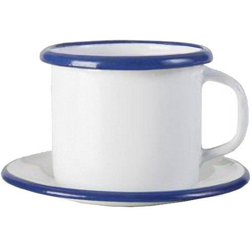 IBILI 903000 Gobelet avec Assiette, INOX, Blanc/Bleu, 5 cm