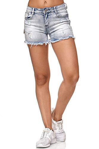 Nina Carter Damen Jeans Shorts Hot Pants Hüfthose Ripped Destroyed D2350, Farben:Blau, Größe Damen:36 / S Carter Jeans