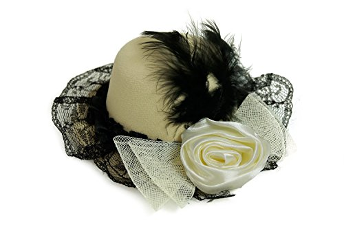 DRESS ME UP - Fascinator Miniatur Hut Mini Zylinder Beige Hellbraun Schwarz Damen Burlesque Feder (Kostüme Varieté Burlesque)