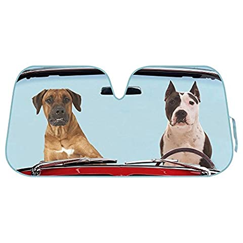 2 Two Dogs Reflective Double Bubble Foil Jumbo Folding Accordion SUNSHADE for Car Truck SUV Front Windshield Window Reversible Sun Shade Universal 28x58 inches BDK
