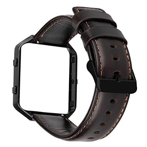 MroTech Lederarmband kompatibel für Fitbit Blaze Armband Herren Ersatzarmband Echtes Leder Uhrenarmband für Fit bit Blaze Smartwatch schwarzem Rahmen Schwarze Schnalle Vintage Lederband Kaffee