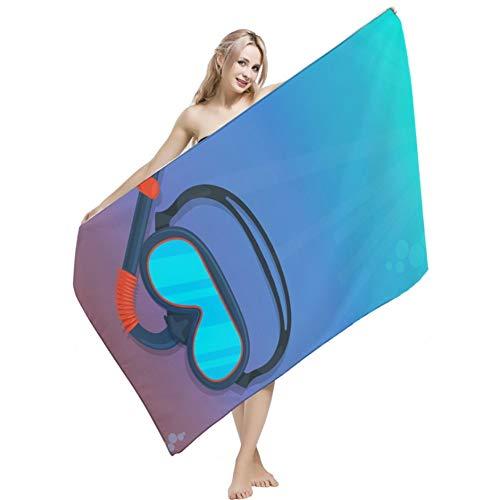 Serviette de plage Lunettes de plongée Palmes Motif Adultes Super Absorbant Microfibre Bain Serviette Clearance Séchage Rapide Surdimensionné Carré Plage Pique-Nique Couverture Tapis De Yoga Compact A