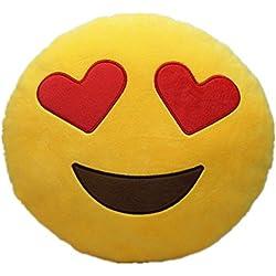 Emoji Pillow Cojín emoji Emoticon sonriente amarillo redondo almohada de peluche de juguete de peluche suave (ojos de corazón)