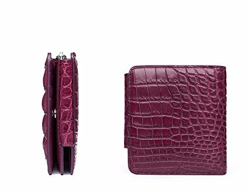 lpkone-Sac Femme Porte-monnaie petit modèle crocodile plus de 30 p. 100-violet vert collier vertical Purple