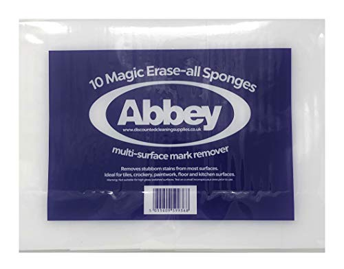 ABBEY Lot de 10 éponges Magiques pour enlever Les Marques et Taches sans Produits Chimiques
