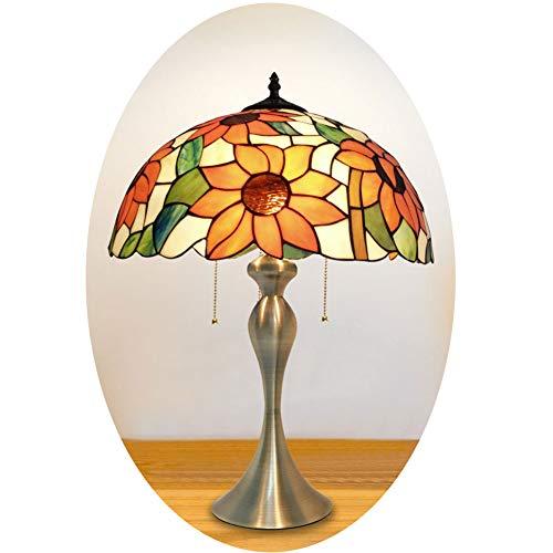 Nomi Tiffany Style Bronze Base und Sunflower Glasmalerei Designer Aztec Tischleuchte,B