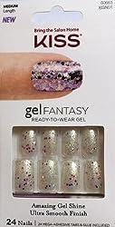 24 nails **NEW Kiss Nails GEL FANTASY KGN01 Medium Design Nails w/Adhesive Tabs & Glue
