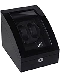 Lindberg & Sons Uhrenbeweger und Uhrenbox für zwei Automatikuhren mit Stauraum für drei weitere Armbanduhren Schwarz Holz Kunstleder LED - UB8077blbl