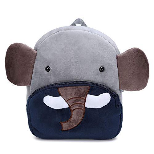 Rucksack Kleinkinder Plüsch Tiere Kinderrucksäcke Für Baby Mädchen Junge 1-3 Jahre 23.8X11.9X26.9CM (Elefant)