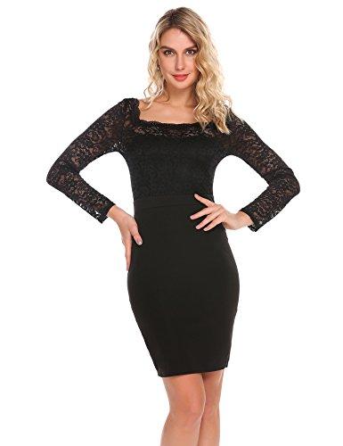 Modfine Damen Elegantes Spitzenkleid Etuikleid Bleistiftkleid Langarm Figurbetont U-Ausschnitt Partykleid Abendkleider Mini Kleid mit Spitze