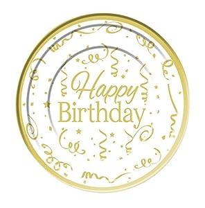 Forum Novelties Happy Birthday Plate Plastic (10pack) 15cm, color gold, white (X81618)