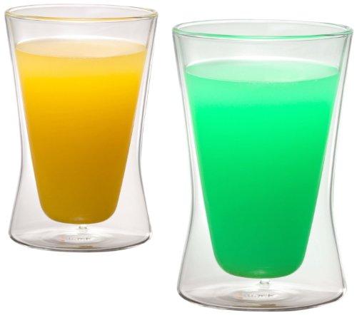 1aTTack.de 833277 Trink/Thermo-Glas 320 ml XXL doppelwandig Modell Demi für Heiß- und Kaltgetränke, 2-Stück