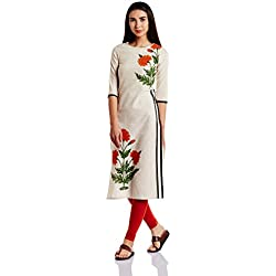 W for Woman Women's Straight Kurta (17AU16865-50041_Natural Look_14)