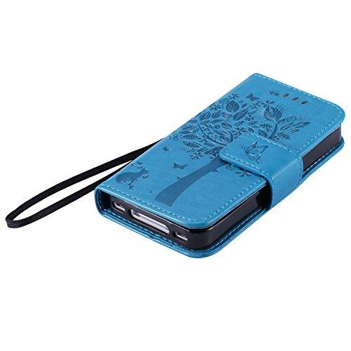 Aeeque® Portable Bleu Etui PU Cuir Coque iPhone 4S, Élégant [Chat et Arbre] Motif à Rabat Portefeuille Housse Pochette Magnétique Support Style de Livre Anti Rayure Protection pour iPhone 4/4S Chat Bleu