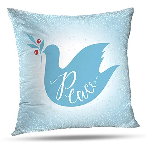 "Bensontop Dekorative Throw Pillow Cover Square Kissen 18""X 18\"" Friedenstaube mit Zweig blau Frohe Weihnachten und Winterurlaub Karte Kissenbezug Home Decor Küche Gartensofa"