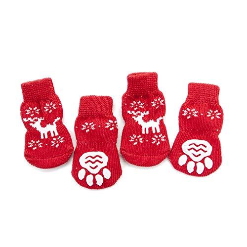 ASOCEA Weihnachten Pet Costumes Indoor Socken Anti-Rutsch Baumwolle Hund Paw Displayschutzfolie mit Rentier Muster Für Kleine Hunde (Set von 4)