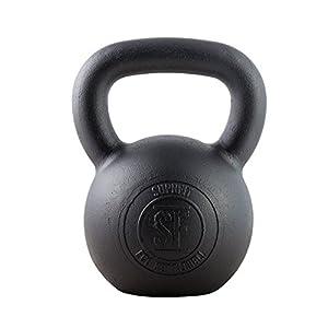 Suprfit Econ Kettlebell – Kugelhantel aus Gusseisen fürs Krafttraining und Cross Training, Gewicht: 4-28 kg, Schwunghantel geeigent zum Reißen, Stoßen und Drücken, Schwarz lackiert