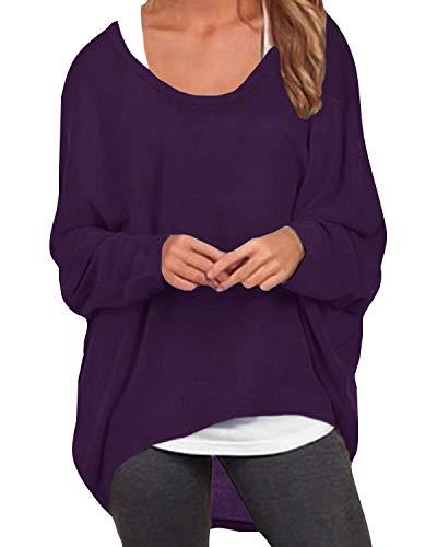 ZANZEA Damen Lose Asymmetrisch Jumper Sweatshirt Pullover Bluse Oberteile Oversize Tops Lila EU 48/Etikettgröße 2XL