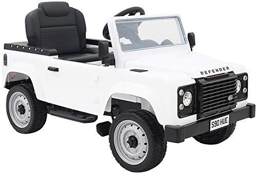 Playtastic Tretauto: Kinderauto mit Land-Rover-Lizenz, Tretpedalen und Eva-Rädern, weiß (Kinder-Auto)