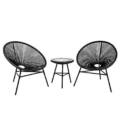 Beliani Rattanmöbel Set Kunststoff schwarz Acapulco