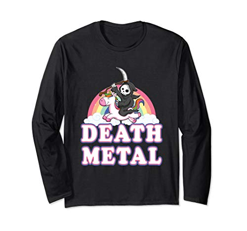 Death Metal Rock Musik Halloween Grim Reaper reitet Einhorn Langarmshirt (Punk Skelett Kind Kostüm)