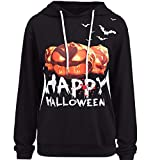 VEMOW Herbst Festival Cosplay Kostüm Damen Halloween Langarm Casual Daily Party Outdoors Hoodie Sweatshirt Pullover mit Kapuze Pullover Tops Bluse(Schwarz, EU-40/CN-M)