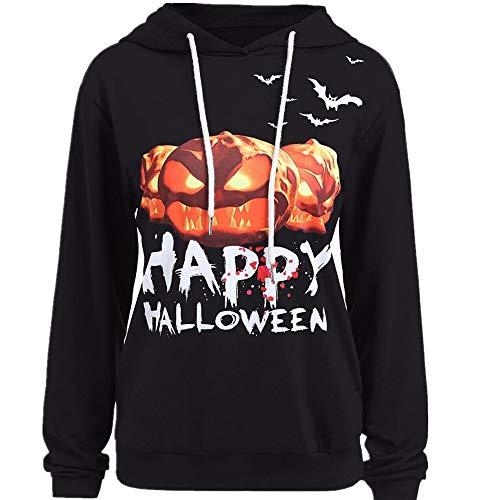VEMOW Herbst Festival Cosplay Kostüm Damen Halloween Langarm Casual Daily Party Outdoors Hoodie Sweatshirt Pullover mit Kapuze Pullover Tops Bluse(Schwarz, EU-42/CN-L)