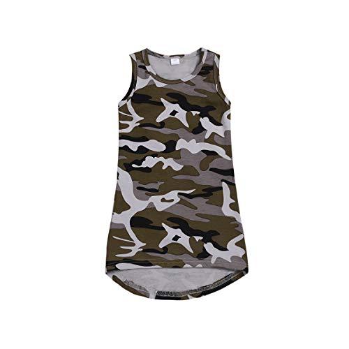 Kleine Baby Mädchen Camo Tank Kleid A-Line T-Shirt hoch niedrig Weste Kleid Sommer Kleidung 0-4J