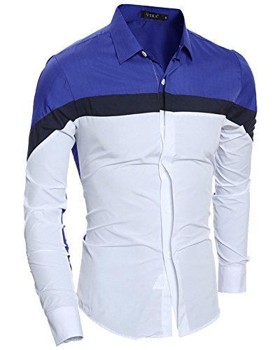 Herren Hemd Slim Fit Langarm Farbe Stitching Hemden Business Shirts Saphirblau